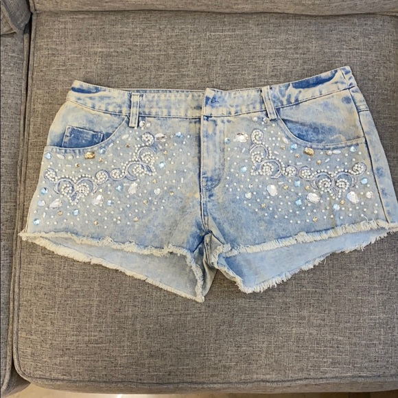 English Rose Denim Embellished Shorts